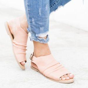 Shoes - Blush Scrunched Slingback Sandals